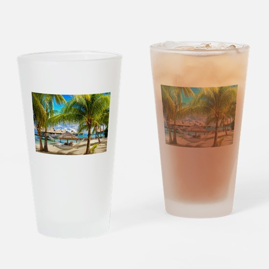 Bungalow And Hammock On Exotic Beach Drinking Glas