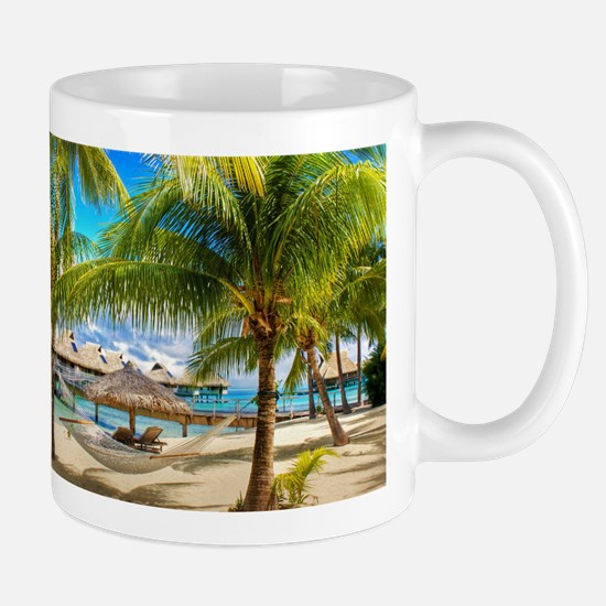 Bungalow And Hammock On Exotic Beach Mugs