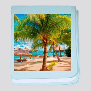 Bungalow And Hammock On Exotic Beach Baby Blanket
