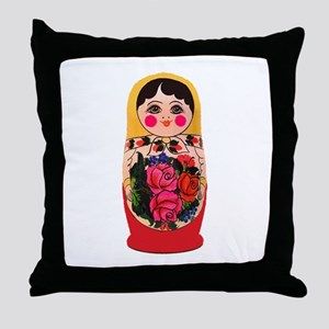 Matryoshka Russian Traditional doll B Throw Pillow