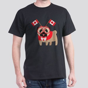 Canada Day Pug with Flag Headband T-Shirt