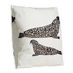 Hooded Seals Burlap Throw Pillow