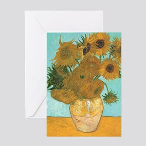 Van Gogh Vase with Sunflowers Greeting Cards