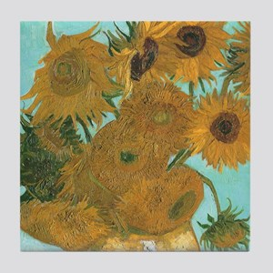 Van Gogh Vase with Sunflowers Tile Coaster