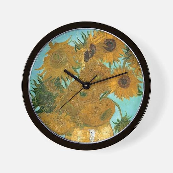 Van Gogh Vase with Sunflowers Wall Clock