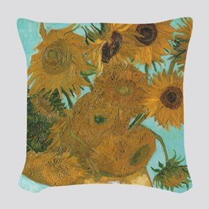 Van Gogh Vase with Sunflowers Woven Throw Pillow