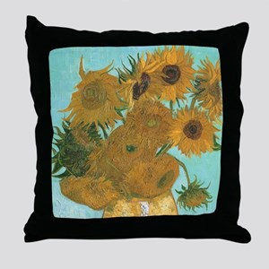 Van Gogh Vase with Sunflowers Throw Pillow