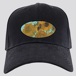 Van Gogh Vase with Sunflowers Black Cap