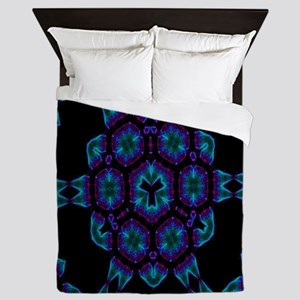 Violet Blue Crystal Mandala Queen Duvet