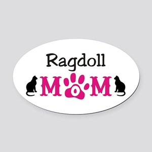 Ragdoll Mom Oval Car Magnet