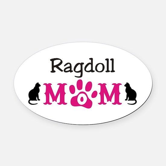 Ragdoll Mom Oval Car Magnet