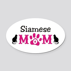 Siamese Mom Oval Car Magnet