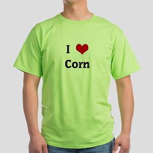I Love Corn Green T-Shirt