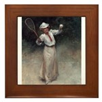 tennis in art Framed Tile