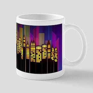 Modern Cityscape By Night Mugs