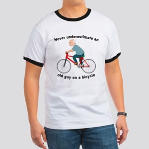 Never Underestimate An Old Guy On A Bicyc Ringer T