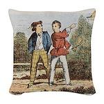 tennis in art Woven Throw Pillow
