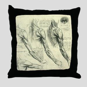 Male Anatomy by Leonardo da Vinci Throw Pillow