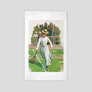 tennis in art Area Rug