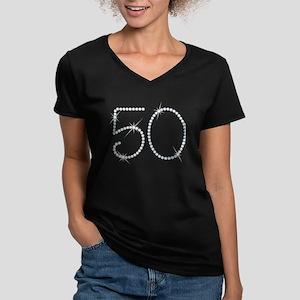 Faux Rhinestone 50th B Womens V Neck Dark T Shirt