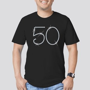Faux Rhinestone 50th B Men's Fitted T-Shirt (dark)