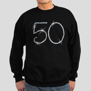 Faux Rhinestone 50th Birthday Sweatshirt (dark)
