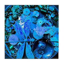 Blue Steampunk Dragonfly Tile Coaster