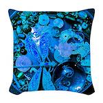 Blue Steampunk Dragonfly Woven Throw Pillow