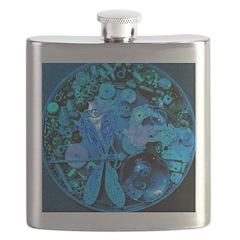 Blue Steampunk Dragonfly Flask