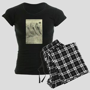 Male Anatomy by Leonardo da Women's Dark Pajamas