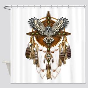 Great Grey Owl Mandala Shower Curtain