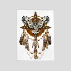 Great Grey Owl Mandala 5'x7'area Rug