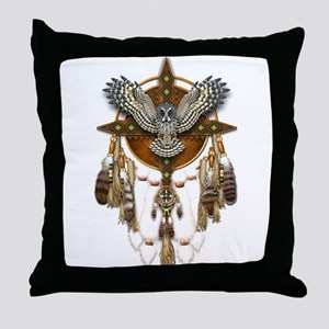 Great Grey Owl Mandala Throw Pillow