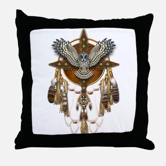 Great Grey Owl Mandala Throw Pillow
