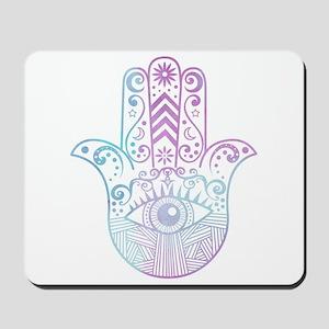 Hamsa Hand Purple and Blue Mousepad