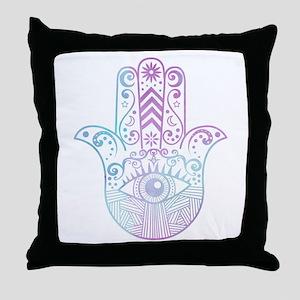 Hamsa Hand Purple and Blue Throw Pillow