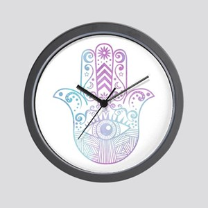 Hamsa Hand Purple and Blue Wall Clock