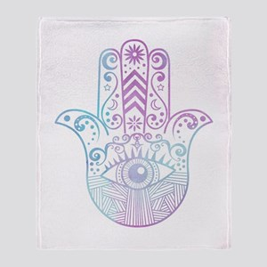 Hamsa Hand Purple and Blue Throw Blanket