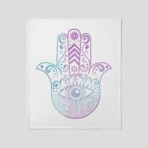 Hamsa Hand Purple and Blue Throw Blanket