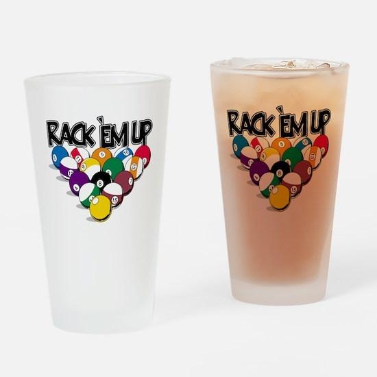 Rack Em Up Pool Drinking Glass