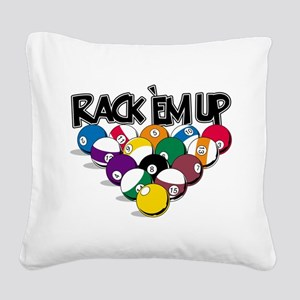 Rack Em Up Pool Square Canvas Pillow