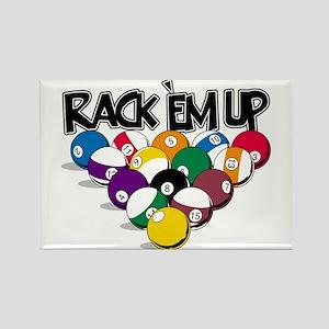 Rack Em Up Pool Rectangle Magnet