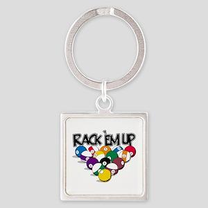 Rack Em Up Pool Square Keychain