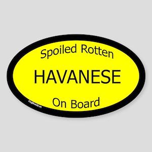 Spoiled Havanese On Board Oval Sticker