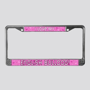 Pink Polka Dot English Bulldog License Plate Frame