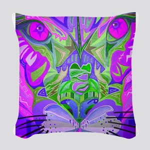 abstract cougar-pink Woven Throw Pillow