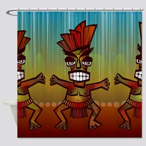 Tiki Men Shower Curtain