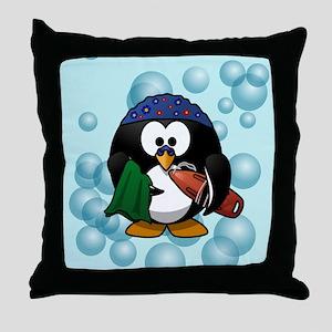 Swimmer Penguin Swimming Throw Pillow
