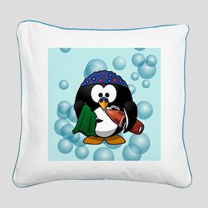 Swimmer Penguin Swimming Square Canvas Pillow