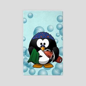 Swimmer Penguin Swimming Area Rug